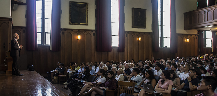 Professor Ian Shapiro delivers the first of his DeVane Lactures on Aug. 29, 2019.