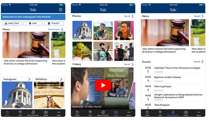 Screen shots of Yale Mobile on iPhone